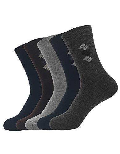 Zando da uomo Stay Up Top Business Classico Piccolo Argyle cotone calzini Casual 5 Pairs Taglia Unica: 25 cm- 33 cm(Misura scarpa: 39-47)