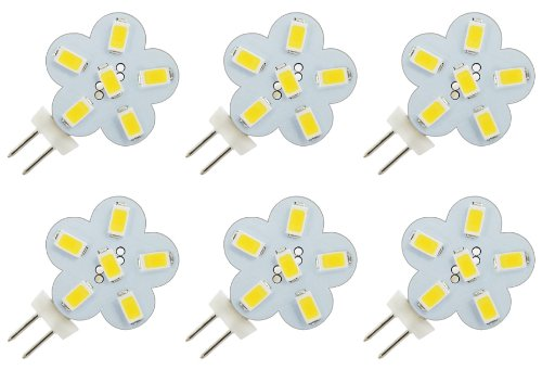 Illumi Projections * 6 Pack * Pure White Side Pin 3 Watt 6X 5730 12V - 24V Jc G4 Base Halogen Lamp 12 Volt 24 Volt 8V-30V Light Bulbs Led Replacements 10X Longer Lifetime