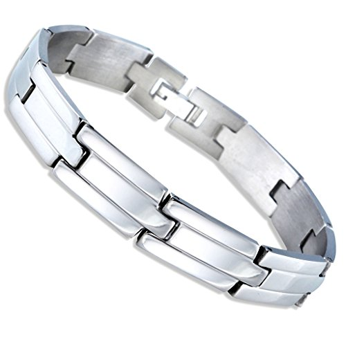 Jstyle Jewelry Men'S Stainless Steel Silver Tone Groove Engraved High Polished Link Bracelets