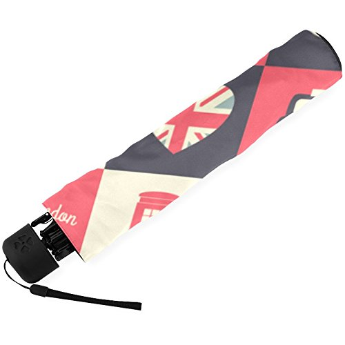 InterestPrint Stylish Retro Vintage Union Jack British Flag Fold Travel Umbrella 3