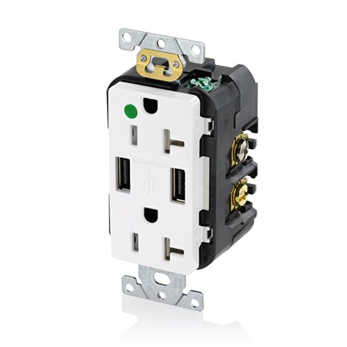 Leviton T5832-Hgw 20-Amp Hospital Grade Usb Charger/Tamper-Resistant Duplex Receptacle, White