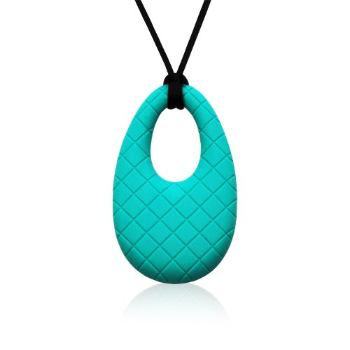 Siliconies Egg Pendant - Silicone Necklace (Teething/Nursing/Sensory) (Peacock - Teal)
