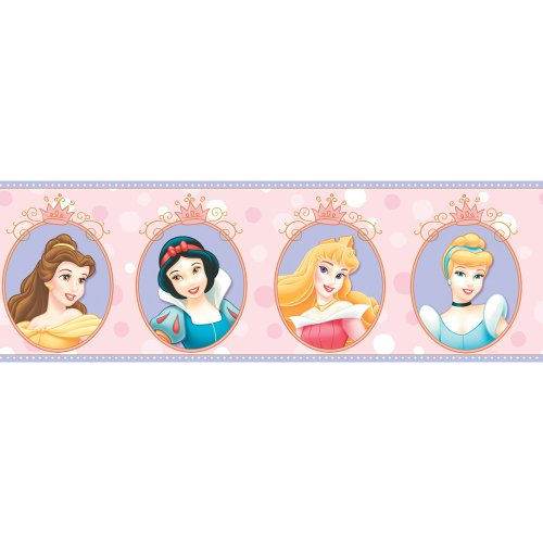 Imperial Disney Home DF059301B Princess Cameo Border, Pink, 6.83-Inch Wide - 1