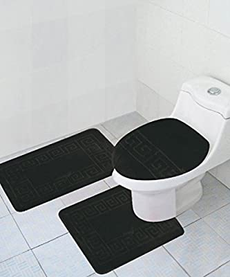 """Homemusthaves 3 Piece Bath Rug Set Pattern Bathroom Rug (20""""x32"""") large Contour Mat (20""""x20"""") with Lid Cover"""