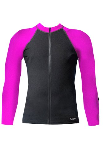 Aeroskin  Raglan Long Sleeve Shirt with Color Accents, Fuzzy Collar and Front Zip (Black/Fuchsia, XX-Large)