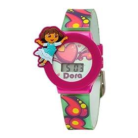 Dora the Explorer Kids' Digital Watch with Interchangeable Bezel Tin Gift Set (DTE1051T)