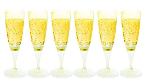 RioRand LED Waterproof Light-Up Champagne Flute Cups - LED Cup (6 pcs-yellow)