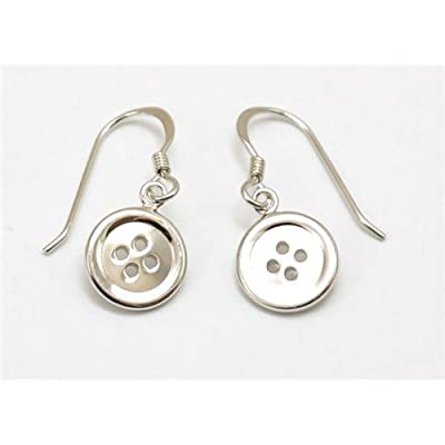 The Olivia Collection Sterling Silver Button Drop Earrings