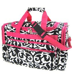Damask Hot Pink Duffel Gym Cheer Bag 19″