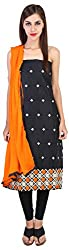 My Happy Life Women's Cotton Unstitched Dress Material (Black)