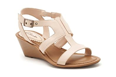 Clarks Womens Casual Clarks Our Style Leather Sandals In Nude Standard Fit Size 5.5