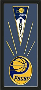 Indiana Pacers Wool Felt Mini Pennant & Indiana Pacers Team Logo Photo - Framed... by Art and More, Davenport, IA
