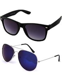 Sheomy Unisex Combo Pack Of Aviator And Matte Wayfarer Sunglasses For Men And Women - Mirrored Sunglasses ( Black...