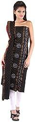Shreya Bandhej Women's Cotton UnStitched Dress Material (SB-2BR, Black & Red )