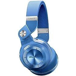 Bluedio T2+ (Turbine 2Plus) Bluetooth stereo headphones auricolari cuffie wireless headphones Micro SD card/ FM radio Bluetooth 4.1 headset Hurrican Series over the Ear headphones Gift Package (Blue)