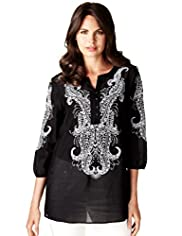 Per Una Cotton Rich Folk Embroidered Kaftan Blouse