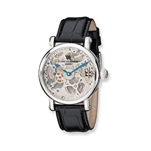 Stnlss Stl Black Strap Skeleton Mechanical Watch by Charles Hubert Paris Watches, Best Quality Free Gift Box Satisfaction Guaranteed