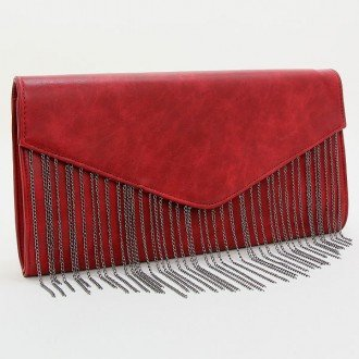 "Womens Black and Wine RED Fringe Envelope Clutch. Magnetic Closure. Polyurethane. Strap Size : 24"" L Size : 13"" W, 7"" H, 2"" T - 1"