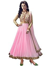INDIA FASHION SHOP WOMENS PINK GOLD NET ANARKALI UNSTICHED DRESS