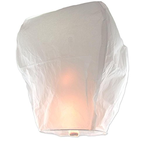 Chinese Lanterns White 10-Pack, Festival Paper Lanterns, Sky Lanterns Designed for Holidays, Birthdays, Weddings, Parties. Safe To Use, Flame-Retardant Paper. With Bonus By ®Coral Entertainments®