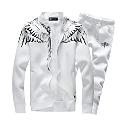 Asali Mens Tracksuit Feather Wings Fashion Warm Up Jog Suit with Clothes and Pants White M