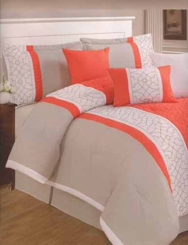 7-Piece Embroidery Modern Comforter Set Queen Bed-In-A-Bag Orange, White, Taupe front-150823