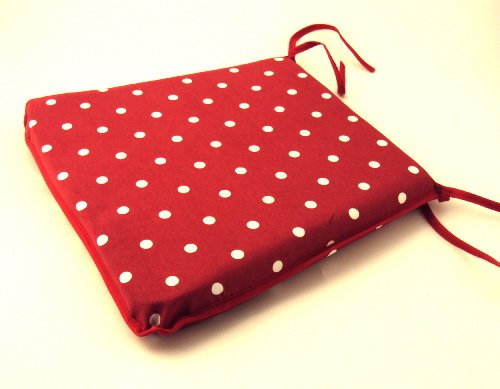 Large Red Spot/Polka Dot Tie-On Chair Kitchen/Dining Room/Patio Seat Pad Cushion