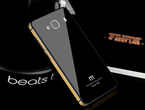 Shopizone Luxury Glass Back Aluminium Side Panel Pouch Battery Injection Case Cover for Xiaomi Redmi 2 Prime - Black & Gold