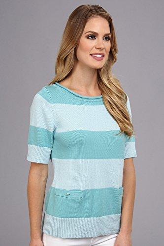 Pendleton Women's Two Stripe Pullover Sweater, Lake Blue/Havana Blue, Small