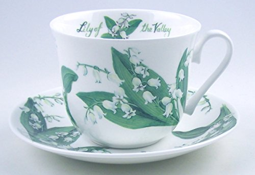 Fine English Bone China Breakfast Cup And Saucer - Lily Chintz - Roy Kirkham, England