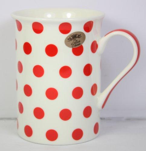 Cascade Gepunktete Tasse (Weiß, rote Punkte, gepunktet, 10 x 8 cm, aus feinem Porzellan, in Geschenkverpackung
