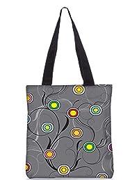 Snoogg Colorful Circles Grey Digitally Printed Utility Tote Bag Handbag Made Of Poly Canvas