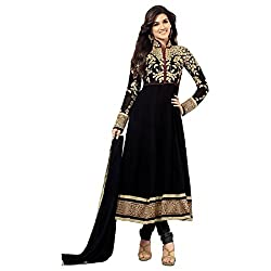 Kesu Fashion Women's Georgette Dress Material (KUKT1001_Black)