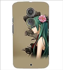 PrintDhaba Beautiful Girl D-5616 Back Case Cover for MOTOROLA MOTO X2 (Multi-Coloured)