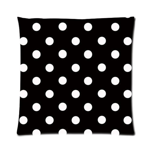 """Polka Dot Black And White Custom Zippered Pillow Cushion Case Throw Pillow Covers 16""""X16""""(Two Sides) Fabric Cotton And Polyester front-925898"""