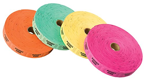 PM Company Admit One Ticket Rolls, 2000 per Roll, 4 Rolls in Assorted Colors (59002) (Admit One Ticket Roll compare prices)