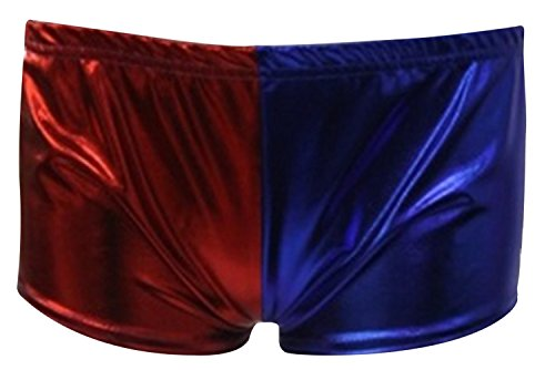 New Harley Quinn Temporary Suicide Squad Costume Halloween Fancy Dress Hot Pants -  Pantaloncini  - Donna Red/Blue M/L