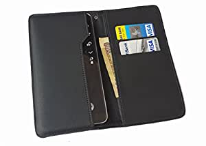 Onkarta Wallet Leather Pouch Cover Case for Micromax Canvas Spark Q380 - Black