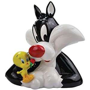 8 Inch Best Friends Tweety Bird and Sylvester Ceramic Piggy Bank