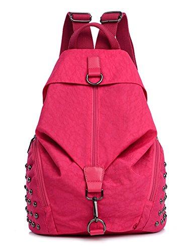 fanselatm-girls-water-resistant-rivet-nylon-school-bag-back-pack-red