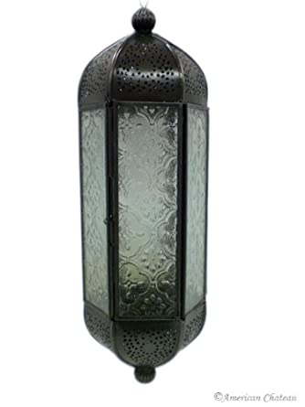 NEW Hanging Clear Glass LANTERNS Moroccan GARDEN Lantern Candle HOLDER Lamp