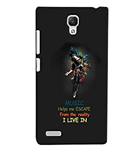PrintVisa Quotes & Messages Music Life 3D Hard Polycarbonate Designer Back Case Cover for Xiaomi Redmi Note