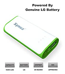 XYNUS RM-5200 mAh Power Bank With Genuine LG Battery (White-Green)