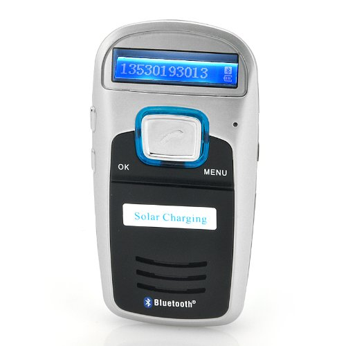 """Hands Free Bluetooth Car Kit """"Ara"""" - Solar Powered, Caller Id Display, Fm Transmitter For Gift(On Sale)"""