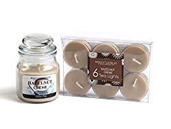 Hosley Hazelnut Creme Highly Fragranced, 2.65 Oz wax, Jar Candle with Pack of 6pieces Scented Tealights