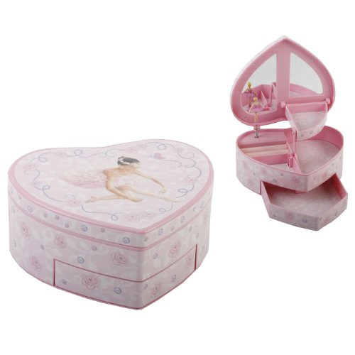 Musical Ballerina Jewellery Box Heart shape/Auto Drawer