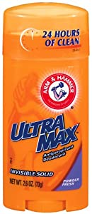 Arm & Hammer Ultramax Deodorant and Antiperspirant Invisible Solid, Powder Fresh, 2.6-Ounce Stick (Pack of 6)