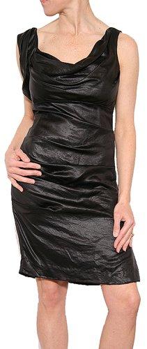 Nicole Miller Women's Cowl Neck Tuck Dress Black Liquid Size 6