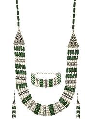 KashishDesignz Green Metal Choker Necklace Set For Women (KDM056)