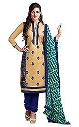 Craftliva Beige & Blue Embroidery Chanderi Cotton Dress Material
